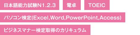 日本語能力試験N1.2.3、電卓、TOEIC、パソコン検定(Excel、Word、PowerPoint、Access)、ビジネスマナー検定取得のカリキュラム